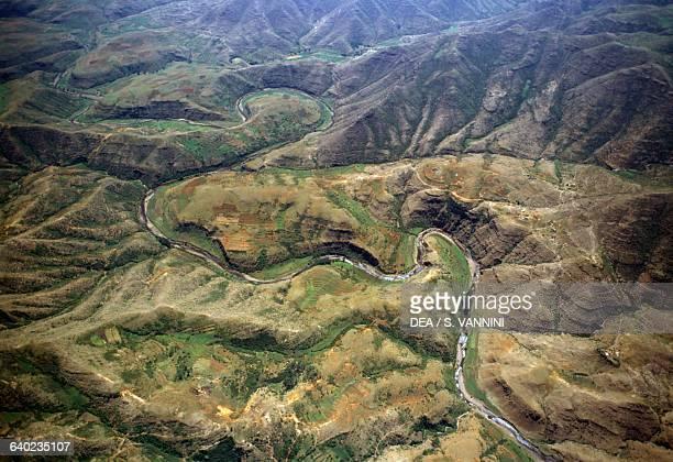 Mountain landscape near Semonkong aerial view Maseru District Lesotho