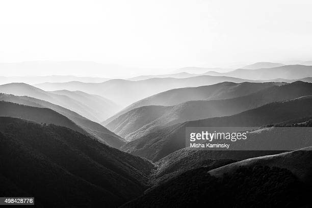 mountain landscape - black and white stock pictures, royalty-free photos & images