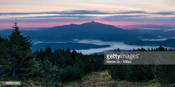 mountain landscape with babia gora, poland - babia góra mountain stock pictures, royalty-free photos & images