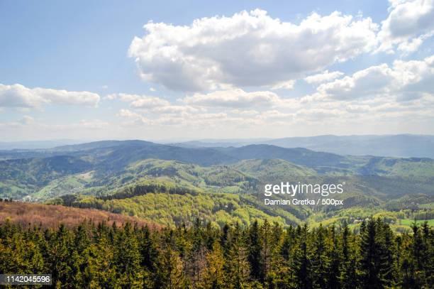 mountain landscape with clouds - new zealand stock-fotos und bilder