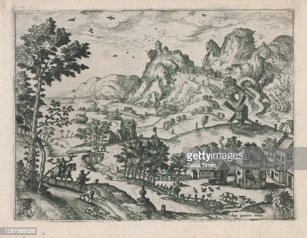Mountain Landscape with Falconers, series of varied landscapes, Anonymous, Netherlandish, late 16th century, ca. 1570, Etching and engraving, plate:...