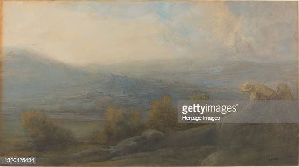 Mountain Landscape with two Figures at the Right, 1905. Artist Alphonse Legros.