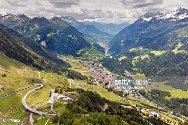 Mountain landscape with view over the Alps, Ticino valley and Airolo,