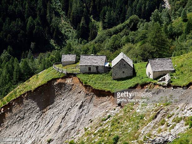 mountain landslide and erosion - landslide stock pictures, royalty-free photos & images