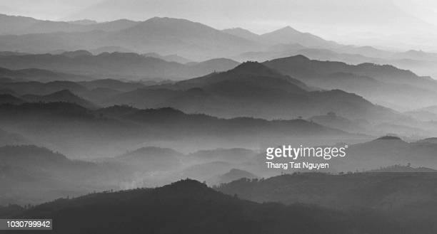 mountain layers in black & white - black and white nature stock pictures, royalty-free photos & images
