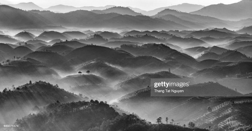 Mountain layers in black & white : Stock Photo