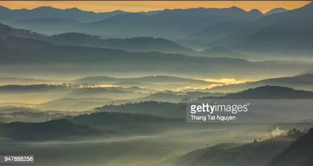 mountain layers in mist on morning sun - asheville stock pictures, royalty-free photos & images