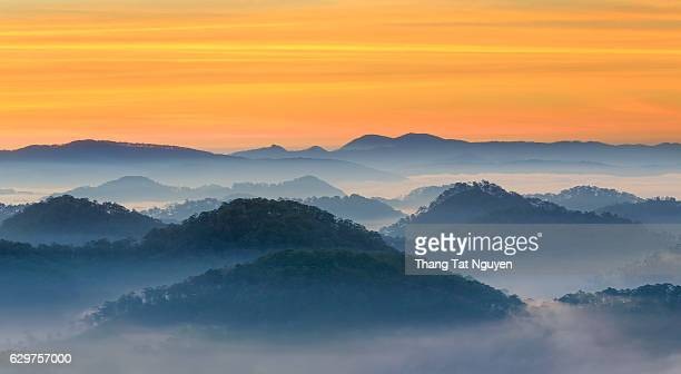 Mountain layers in mist , view from Honbo Mountain, Dalat, Vietnam