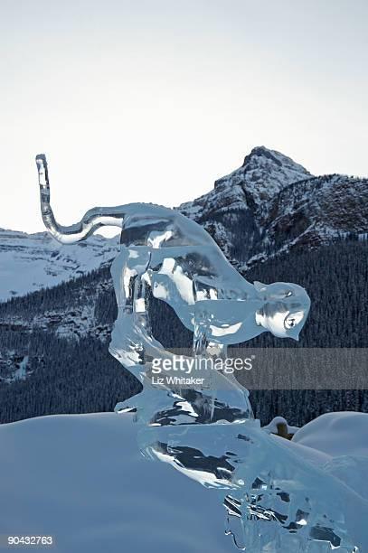 Mountain lion ice sculpture