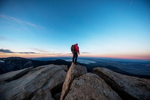 Mountain man on a summit - gettyimageskorea