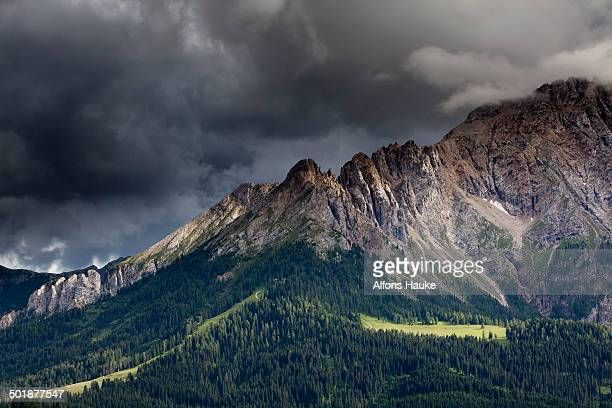 Mountain meadow with Latemar Mountain, stormy mood, Karerpass, Dolomiten, South Tyrol province, Trentino-Alto Adige, Italy