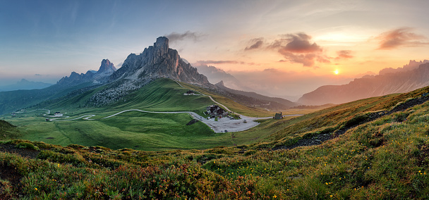 Mountain nature panorama in Dolomites Alps, Italy. 517961952