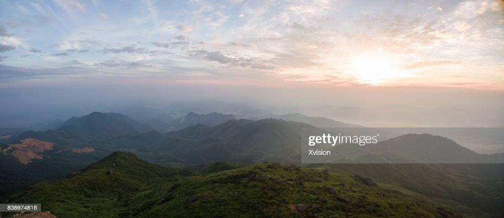 Mountain near sunrise aerial view : Stock Photo