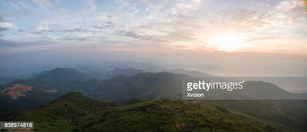 mountain near sunrise aerial view - sunrise mountain peak stock pictures, royalty-free photos & images