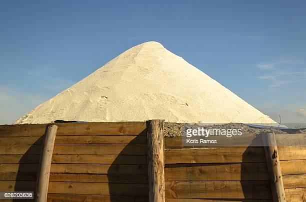 Mountain of salt coarse in the salineira of aveiro portugal