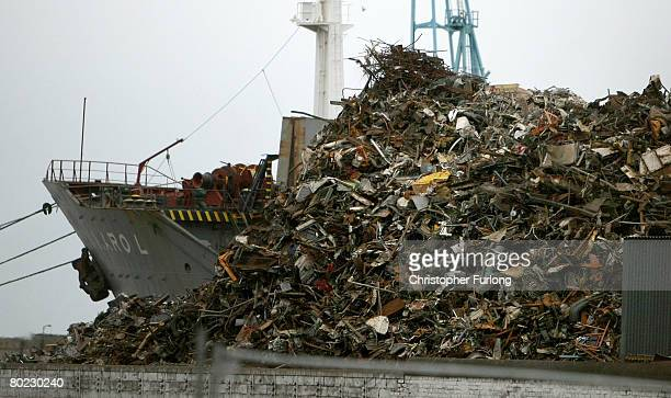 A mountain of scrap metal sits in Liverpool docks awaiting export to foundries and metal merchants abroad March 13 in Liverpool England The global...