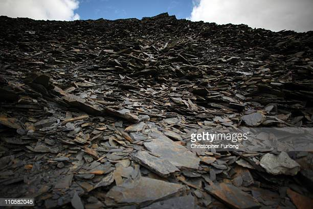 A mountain of slate looms high near Blaenau Ffestiniog which is on this year's list bidding for World Heritage Sites status on March 22 2011 in...