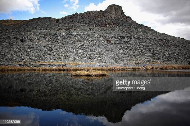 Mountain of slate looms high near Blaenau Ffestiniog which is on this year's list bidding for World Heritage Sites status on March 22, 2011 in...
