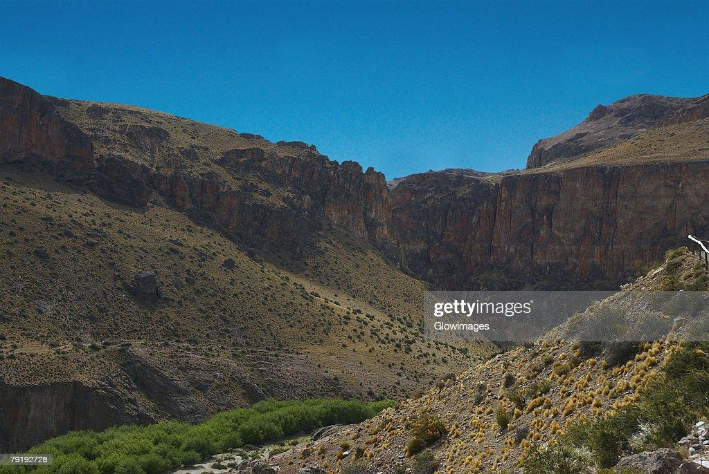 Mountain on a landscape, Pinturas River, Patagonia, Argentina : Stock Photo
