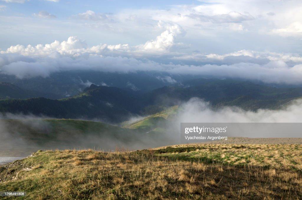 Mountain panorama in clouds, Adygea, Western Caucasus : Stock Photo