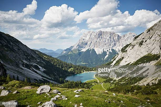 mountain panorama with zugspitze - austria stock pictures, royalty-free photos & images