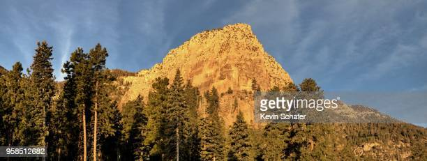 mountain panoramic at dawn, spring mountains national recreation area, mt. charleston, outside las vegas, nevada - mt charleston stock photos and pictures