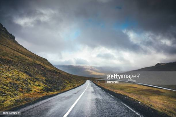 mountain pass in east fjords in iceland - mountain pass stock pictures, royalty-free photos & images