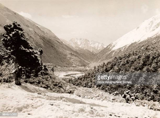 A mountain pass on the border with Tibet Sikkim India 1938 Mount Everest Expedition 1938