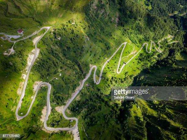 Mountain Pass Road curves aerial view