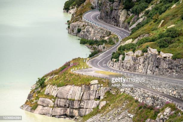 mountain pass road, grimselpass, switzerland, europe - s shape stock photos and pictures