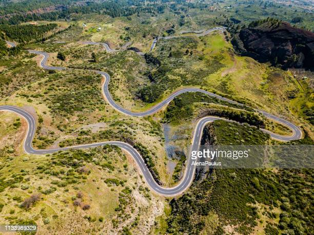 mountain pass road in tenerife, canary island - hairpin curve stock photos and pictures