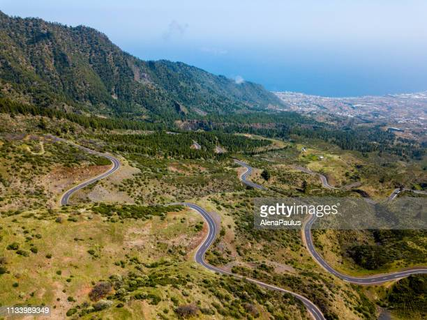 mountain pass road in tenerife, canary island - central america stock pictures, royalty-free photos & images