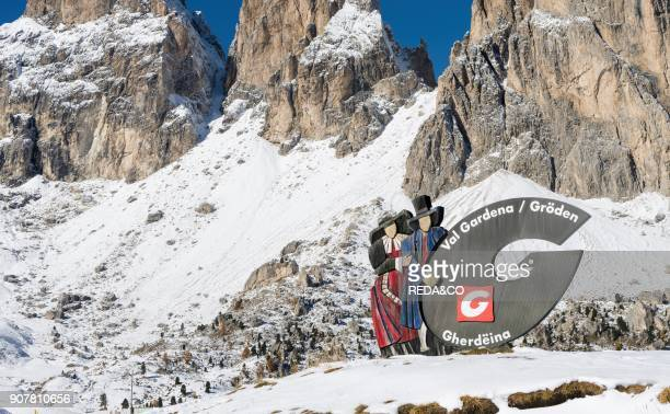 Mountain Pass Sellajoch - Passo Sella in the Dolomites of South Tyrol - Alto Adige. In the background Mount Langkofel - Sassolungo. The Dolomites are...