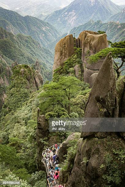 mountain path with people,china - geology stock pictures, royalty-free photos & images