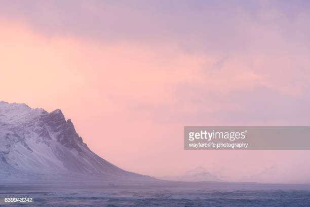 Mountain peak and pink sunset in winter, Snaefellsnes Peninsula, Iceland