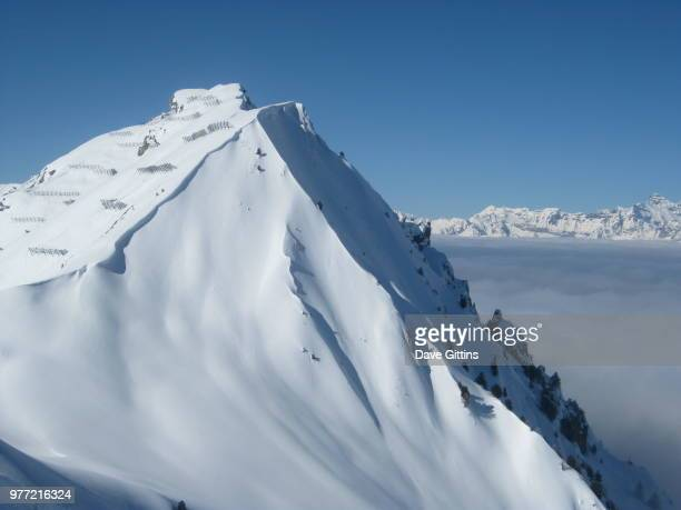Mountain peak covered with snow, Verbier, Valais, Switzerland