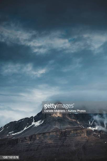 Mountain peak in Canadian Rockies, Saskatchewan River Crossing, Icefields Parkway, Alberta, Canada