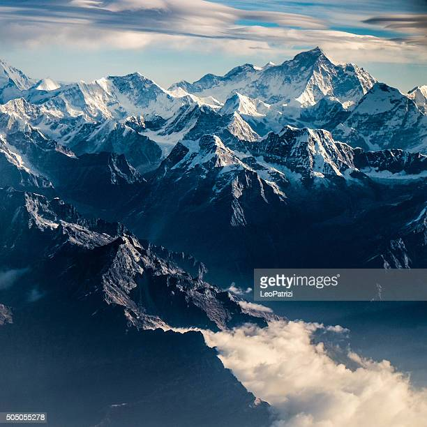 mountain peak in nepal himalaya - annapurna conservation area stock photos and pictures