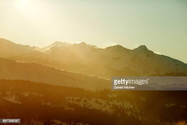 Mountain peak int he Colorado Rockies at sunset