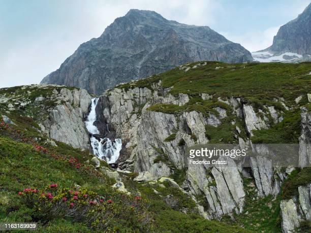 mountain peak poncione di maniò in bedretto valley, ticino, switzerland - heather brooke ストックフォトと画像