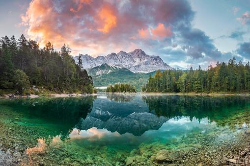 Mountain peak Zugspitze Summer day at lake Eibsee near Garmisch Partenkirchen. Bavaria, Germany 1042404662