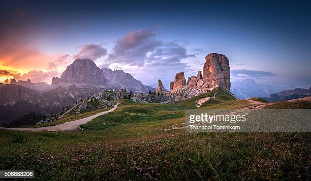 mountain peaks cinque torri in the italian dolomites, South Tyrol , Italy.