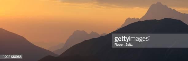 Mountain peaks in the morning light, Berwang, Ausserfern, North Tyrol, Austria