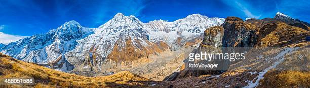 mountain peaks panorama snowy summits glacier annapurna sanctuary himalayas nepal - annapurna conservation area stock photos and pictures