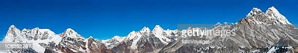 Mountain peaks super panorama Mt Everest high altitude Himalayas Nepal