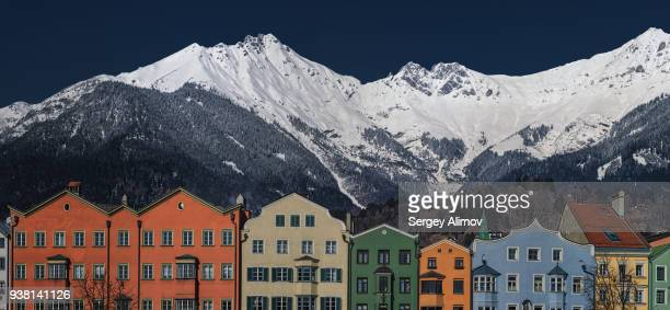 Mountain peaks topping the roofs of old town of Innsbruck