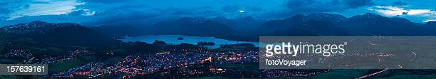 mountain peaks town lights panorama keswick lake district cumbria uk - cumbria stock pictures, royalty-free photos & images