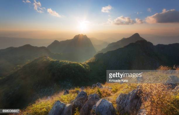 mountain popular travel sunset view - chiang mai province stock photos and pictures