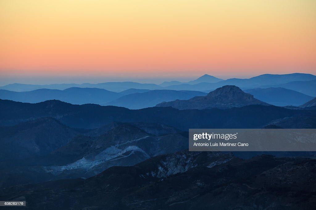 Mountain range at sunset : Stock Photo