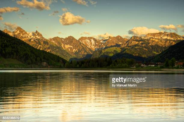 mountain range from the lake sihlsee - schwyz stock pictures, royalty-free photos & images